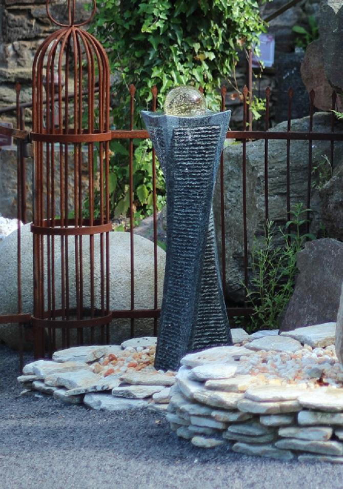 wasserspiel set quellstein granit s ule gedreht 100cm. Black Bedroom Furniture Sets. Home Design Ideas