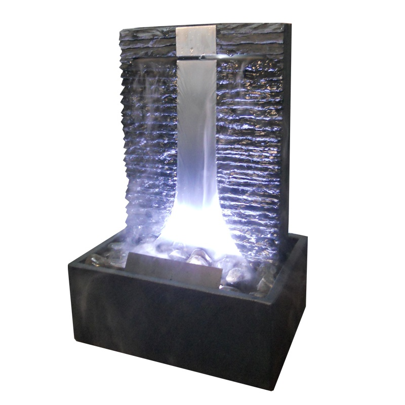 zimmerbrunnen flamme 46 wasserwand edelstahl schiefer. Black Bedroom Furniture Sets. Home Design Ideas