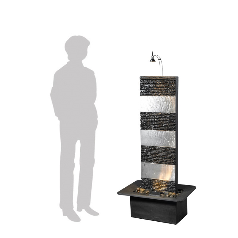 zimmerbrunnen bando inox 130 feng shui schiefer edelstahl brunnen inkl beleuchtung 39351b1l. Black Bedroom Furniture Sets. Home Design Ideas