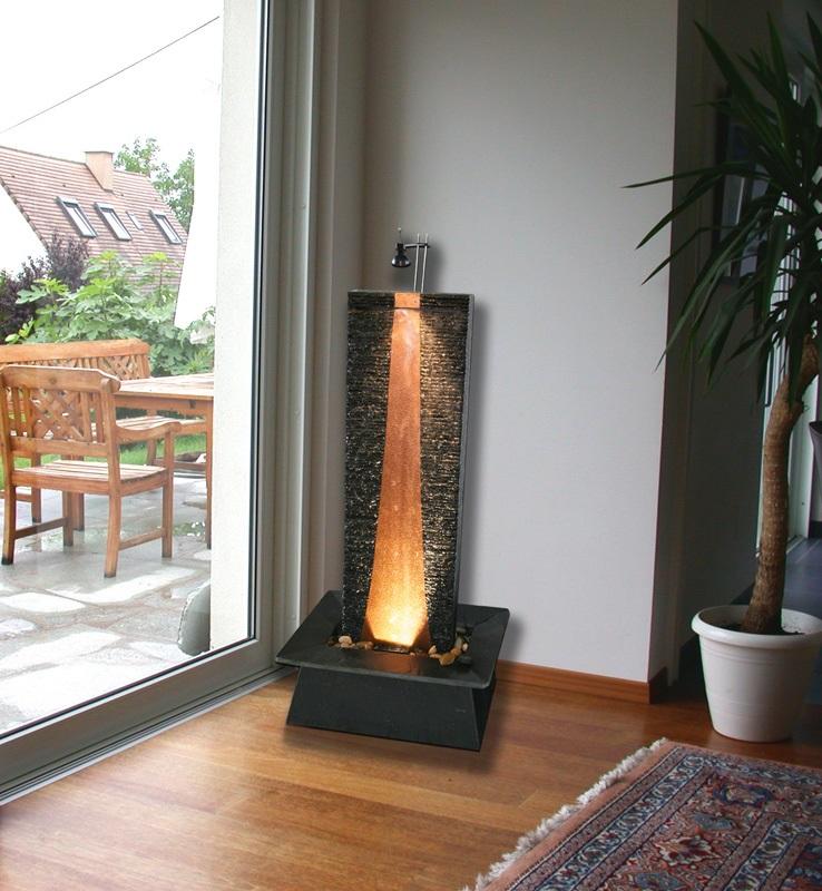 Zimmerbrunnen flamme kupfer 130 schieferbrunnen wasserwand inkl beleuchtung ebay - Wohnzimmer brunnen ...