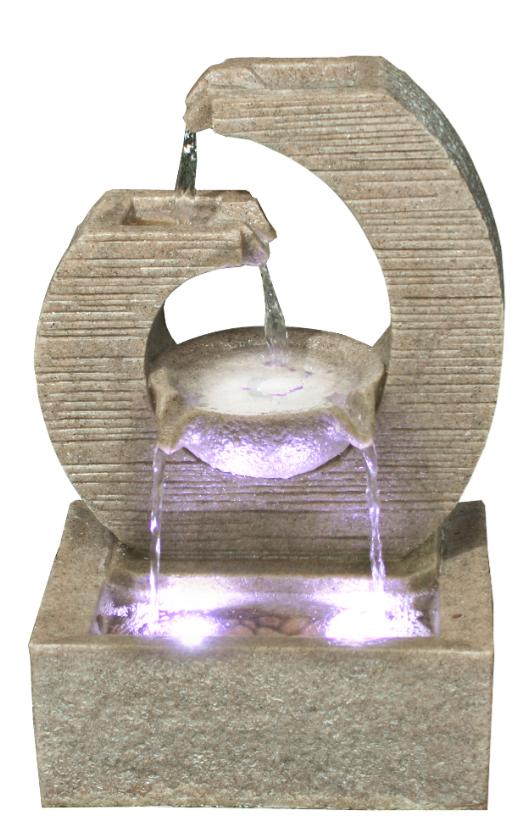 zimmerbrunnen design key springbrunnen polystone brunnen inkl pumpe led ebay. Black Bedroom Furniture Sets. Home Design Ideas