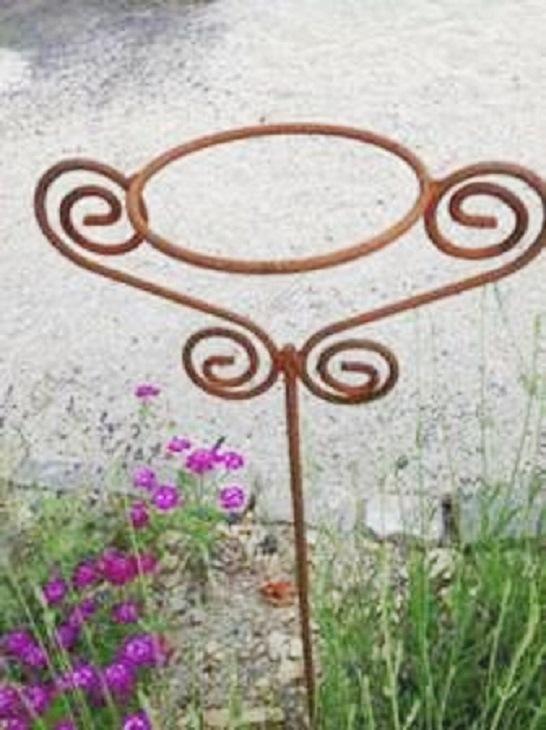 Topfhalter edelrost 2 ornamente gartenstecker rosenstab for Edelrost gartenstecker