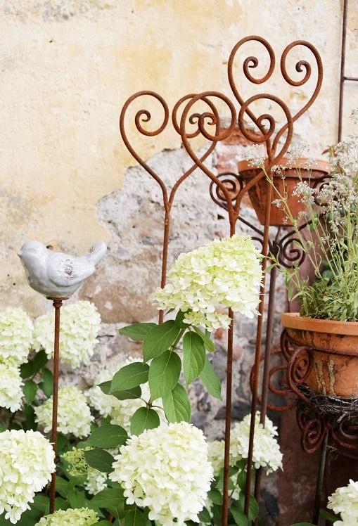 Rosenstab herz edelrost gartenstecker rankhilfe shabby for Gartenstecker edelrost
