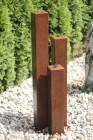 Wasserspiel SET Cortenstahl 3er Säulen 10x10x60/80/100 Springbrunnen Edelrost Design