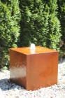 Wasserspiel SET: Cortenstahl Kubus 50 Rost Würfel inkl. Pumpe Becken Springbrunnen