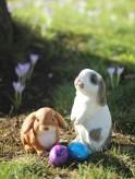 Gartenfigur Kaninchen Pummel + Hase Hoppel Polystone Oster Set Osterhase