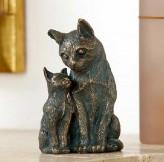 Bronzefigur Schmusekatzen Katzen Mutter mit Kind 16 | Bronze Skulptur Rottenecker