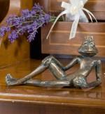 Bronzefigur Froschkönig Eugen L15cm | Bronze Gartenfigur Skulptur Rottenecker