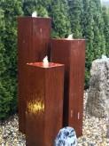 Wasserspiel SET Cortenstahl 3er Säulen 150cm Gartenbrunnen Edelrost Design