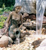 Mädchen Elonie 39cm Gartenfigur als Wasserspiel Bronze Wasserspeier Rottenecker