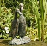 Bronzefigur Laufenten 27cm Bronze Gartenfigur Wasserspeier Rottenecker