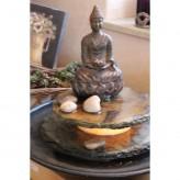Zimmerbrunnen Minello Buddha Feng Shui Schieferbrunnen inkl. Beleuchtung Tischbrunnen
