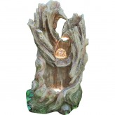 Han 100cm Wasserfall Polystone Brunnen Holz Optik inkl. Pumpe LED Glaskugel