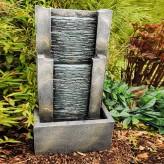 Fendi Wasserwand 64cm Polystone Brunnen Steinoptik inkl. Pumpe LED