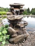 Jibey Wasserfall 100cm Polystone Brunnen Stein Optik  inkl. Pumpe und LED