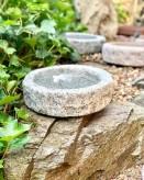 Vogeltränke Granit grau rund 30cm Naturform Vogelbad für Garten Insektentränke