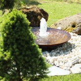 Cortenstahl Wasserschale 80 mit Fontäne Edelrost Gartenbrunnen Komplettset