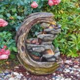 Wasserspiel Luna 60cm Polystone Brunnen Gartenbrunnen inkl. Pumpe und LED