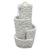 Wasserspiel Naima 52cm Polystone Gartenbrunnen mit dreh. Glaskugel Pumpe und LED