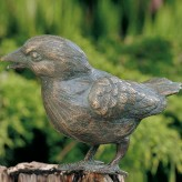 SONDERPREIS! Bronzefigur Vogel Haussperling 7 cm Bronze Gartenfigur Rottenecker