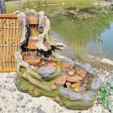 Dong Bachlauf Brunnen L105cm mit Wasserfall naturgetreuer Polystone Gartenbrunnen
