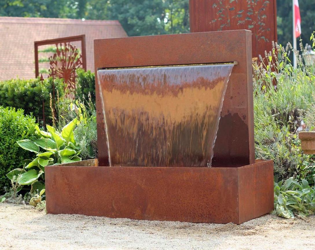 wasserspiel cortenstahl wasserfall l 90 cm gartenbrunnen edelrost design 1001000064. Black Bedroom Furniture Sets. Home Design Ideas