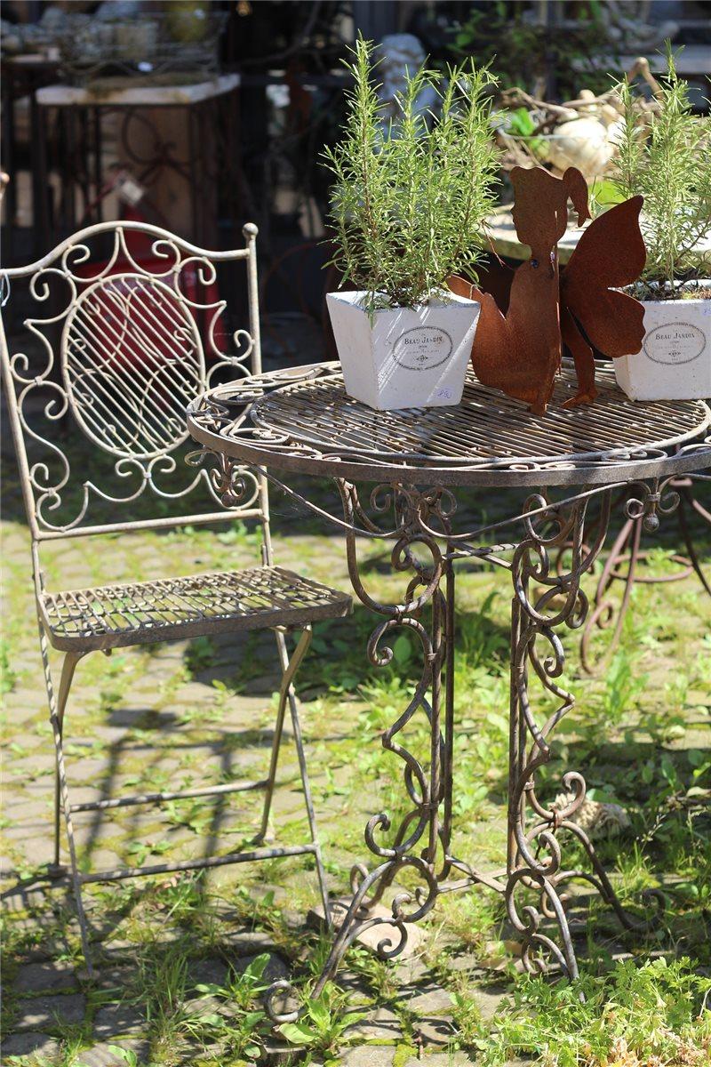 Tisch mit 2 Stühlen Eisen antik patiniert | Gartenmöbel Shabby