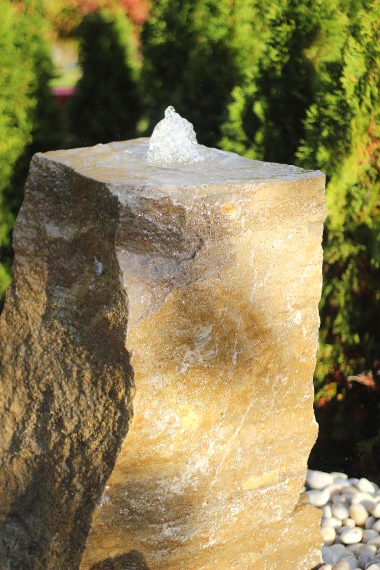 Wasserspiel SET Quellstein Muschelkalk 77cm mit Quellschale