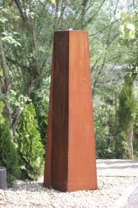 Wasserspiel kpl.SET: Cortenstahl Konus Säule 200 Edelrost Wasserwand inkl. Pumpe Becken | Brunnen