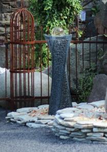 Wasserspiel SET: Quellstein Granit Säule gedreht 100cm inkl. Pumpe | Becken