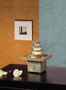 AUSSTELLUNGSSTÜCK! Zimmerbrunnen Masao   Feng Shui Schieferbrunnen inkl. Beleuchtung