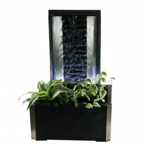 Zimmerbrunnen Oga | Wasserwand Edelstahl - Schiefer Brunnen inkl. Beleuchtung und Pflanzvorrichtung
