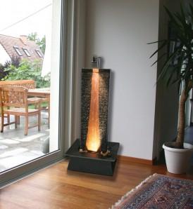 Zimmerbrunnen Flamme Kupfer 130 | Schieferbrunnen Wasserwand inkl. Beleuchtung