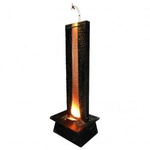 Zimmerbrunnen Flamme Kupfer 180   Feng Shui Brunnen Wasserwand inkl. Beleuchtung