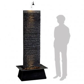 Zimmerbrunnen Lamelle Black 170 Feng Shui Schieferbrunnen Wasserwand