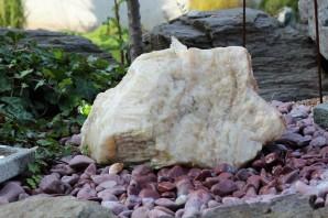 Wasserspiel kpl. SET: Quellstein Onyx weiß 40cm inkl. Pumpe Becken | Springbrunnen