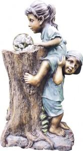 Zierbrunnen Leah und Theo am Baum 70 cm | Polystone Wasserspiel inkl. Pumpe Glaskugel und LED