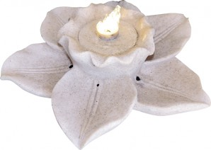 Zimmerbrunnen Narzisse Blüte   Polystone Brunnen inkl. Pumpe und LED Beleuchtung