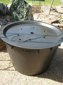 PE Becken mit GFK Deckel Ø 90 cm 200 Liter | für Quellsteine, Wasserspiele und Zierbrunnen