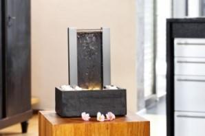 Zimmerbrunnen Calgary | Wasserwand Edelstahl - Schiefer Brunnen inkl. Beleuchtung