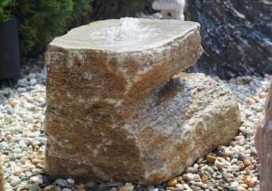 Wasserspiel SET Quellstein Muschelkalk L70cm Gartenbrunnen mit Quellschale