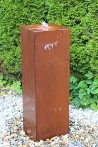 Wasserspiel SET Cortenstahl Säule 100 Gartenbrunnen Edelrost Design