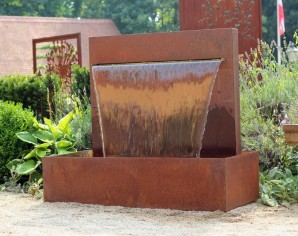 Wasserspiel Cortenstahl Wasserfall L 90 cm Gartenbrunnen Edelrost Design