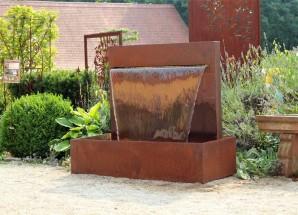 Wasserspiel Cortenstahl Wasserfall 90 Gartenbrunnen Edelrost Design