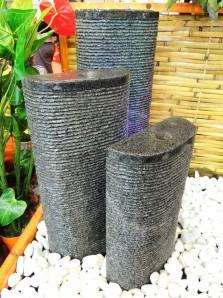 Wasserspiel SET 3er Säulen Lao 80cm Granit Gartenbrunnen inkl. Pumpe Becken