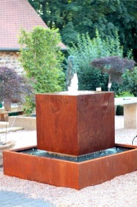 Wasserspiel SET Cortenstahl Würfel 80 Schwebeoptik Gartenbrunnen Edelrost H115cm