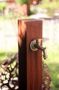 Zapfstelle Cordon 100 inkl. Wasserhahn Cortenstahl Wasserzapfstelle für Garten