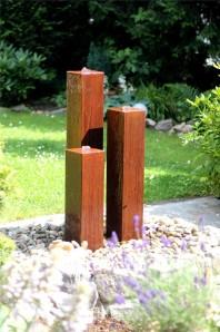 Cortenstahl Säulen Trio 100/15 Edelrost Gartenbrunnen Springbrunnen Komplettset