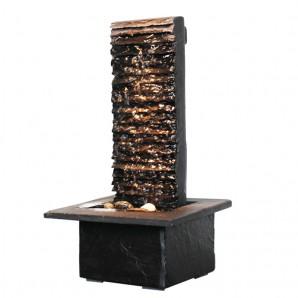Zimmerbrunnen Lamelle Black 38 | Feng Shui Schieferbrunnen Wasserwand