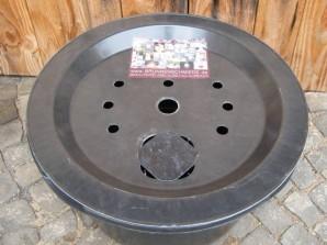 PE Becken mit GFK Deckel Ø 66 cm 90 Liter für Quellsteine Wasserspiele und Zierbrunnen